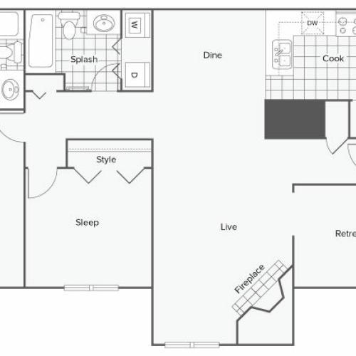 2 Bedroom Floor Plan | Apartment In Sandy Springs GA | ReNew Sandy Springs