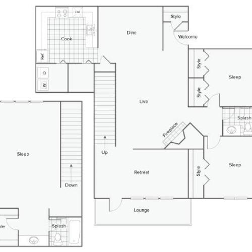 3 Bedroom Floor Plan | Sandy Springs Apartments Atlanta GA | ReNew Sandy Springs
