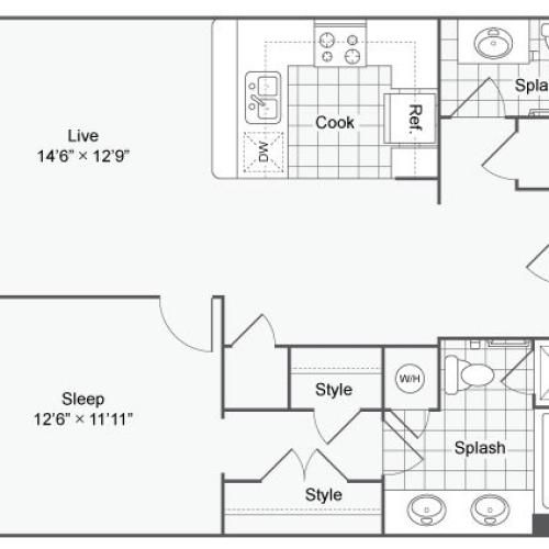 Floor Plan 33| Alamo Apartments San Antonio TX | Arrive Eilan