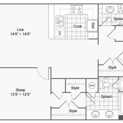 Floor Plan 34| Alamo Apartments San Antonio TX | Arrive Eilan
