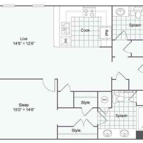 Floor Plan 41| Alamo Apartments San Antonio TX | Arrive Eilan