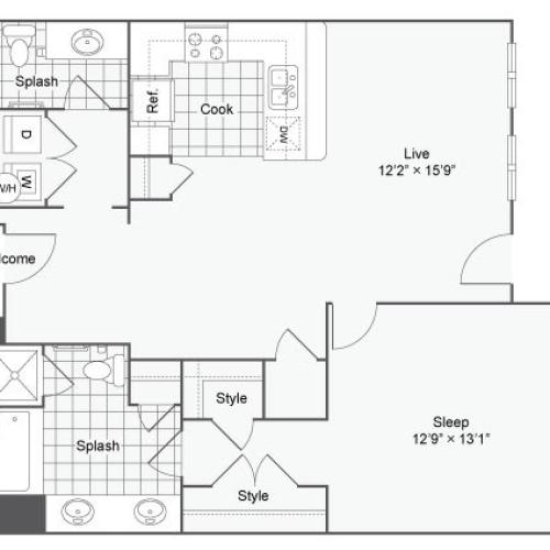 Floor Plan 39| Alamo Apartments San Antonio TX | Arrive Eilan