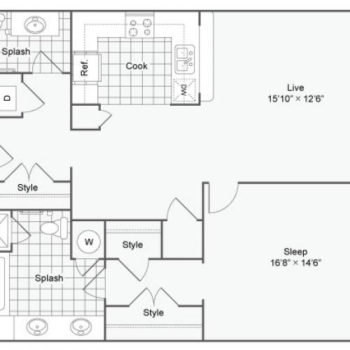 Floor Plan 38| Alamo Apartments San Antonio TX | Arrive Eilan