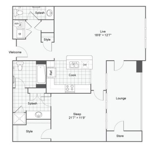 Floor Plan 35| Alamo Apartments San Antonio TX | Arrive Eilan