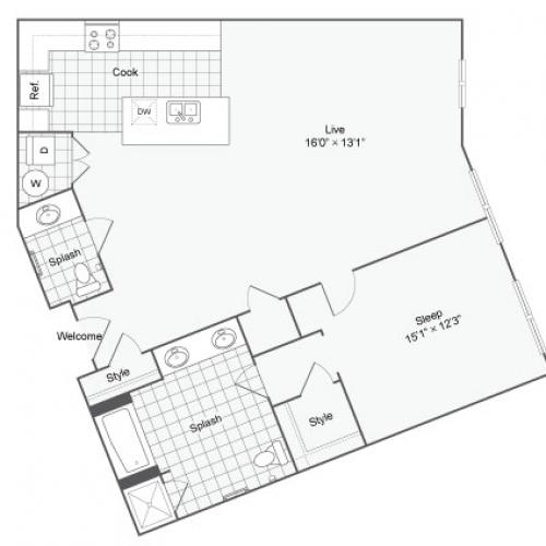 Floor Plan 42| Alamo Apartments San Antonio TX | Arrive Eilan