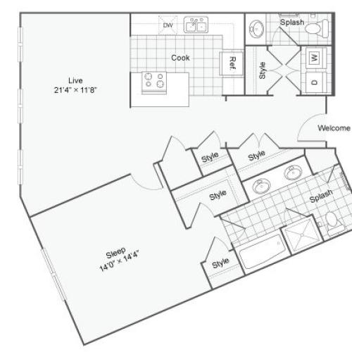Floor Plan 44| Alamo Apartments San Antonio TX | Arrive Eilan