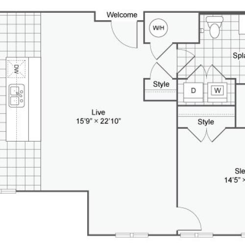 Floor Plan 49| Alamo Apartments San Antonio TX | Arrive Eilan