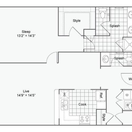 Floor Plan 50| Alamo Apartments San Antonio TX | Arrive Eilan
