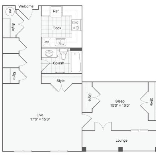 Floor Plan 53| Alamo Apartments San Antonio TX | Arrive Eilan