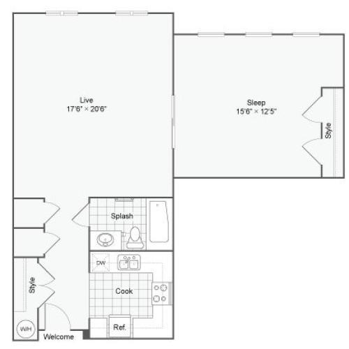 Floor Plan 55| Alamo Apartments San Antonio TX | Arrive Eilan