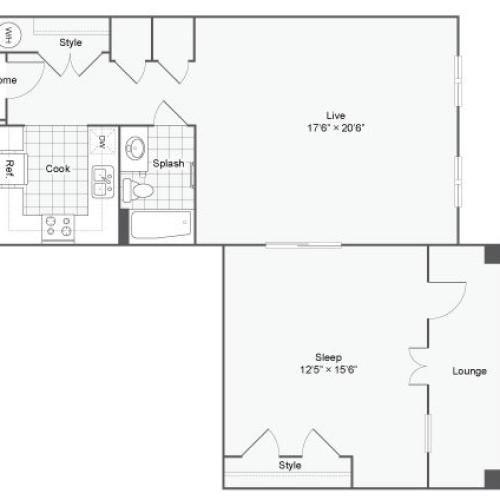 Floor Plan 56| Alamo Apartments San Antonio TX | Arrive Eilan