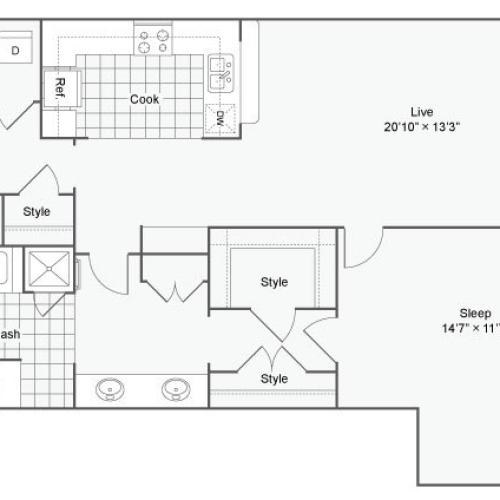 Floor Plan 57| Alamo Apartments San Antonio TX | Arrive Eilan