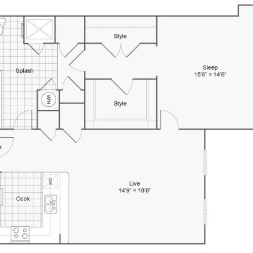 Floor Plan 58| Alamo Apartments San Antonio TX | Arrive Eilan