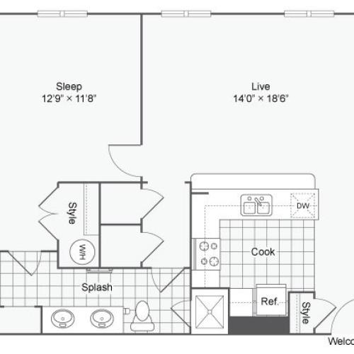 Floor Plan 59| Alamo Apartments San Antonio TX | Arrive Eilan