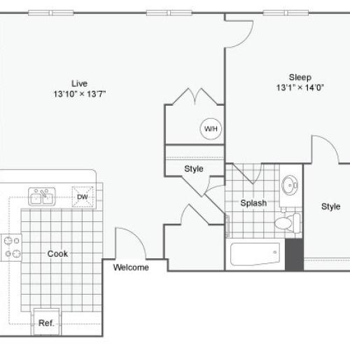 Floor Plan 61| Alamo Apartments San Antonio TX | Arrive Eilan