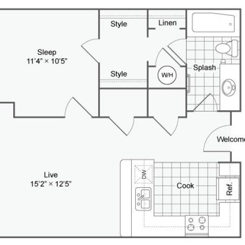 Floor Plan 65| Alamo Apartments San Antonio TX | Arrive Eilan