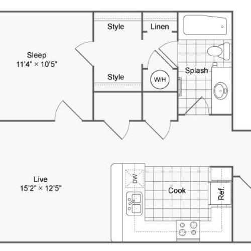 Floor Plan 66| Alamo Apartments San Antonio TX | Arrive Eilan