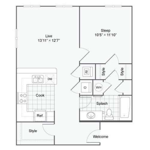 Floor Plan 68| Alamo Apartments San Antonio TX | Arrive Eilan