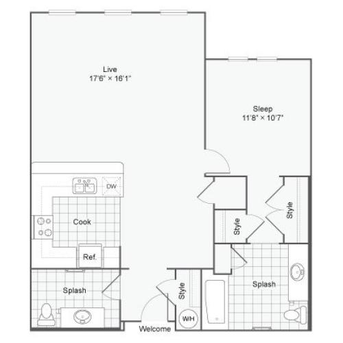 Floor Plan 73| Alamo Apartments San Antonio TX | Arrive Eilan