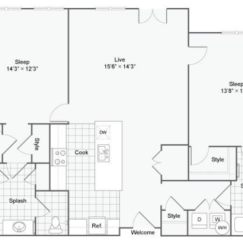 Floor Plan 47| Alamo Apartments San Antonio TX | Arrive Eilan