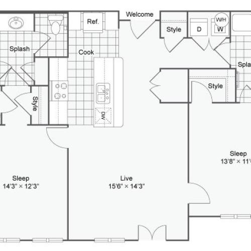Floor Plan 75| Alamo Apartments San Antonio TX | Arrive Eilan