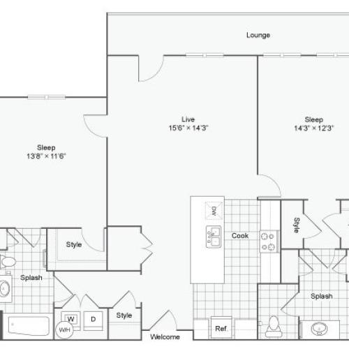 Floor Plan 76| Alamo Apartments San Antonio TX | Arrive Eilan