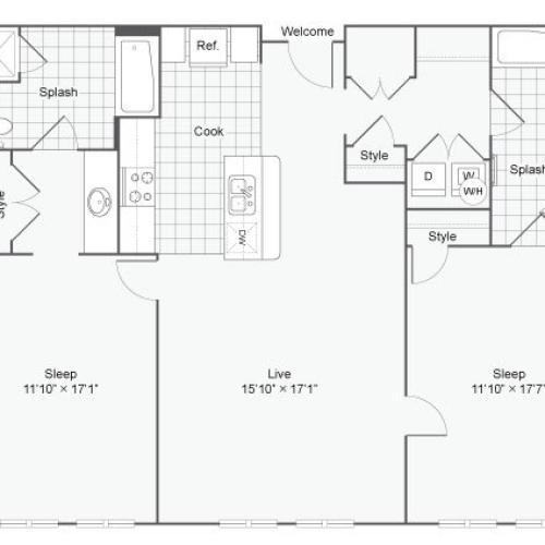 Floor Plan 79| Alamo Apartments San Antonio TX | Arrive Eilan