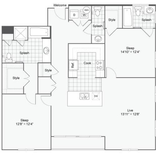 Floor Plan 81| Alamo Apartments San Antonio TX | Arrive Eilan