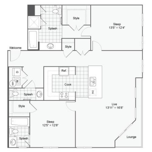 Floor Plan 83| Alamo Apartments San Antonio TX | Arrive Eilan