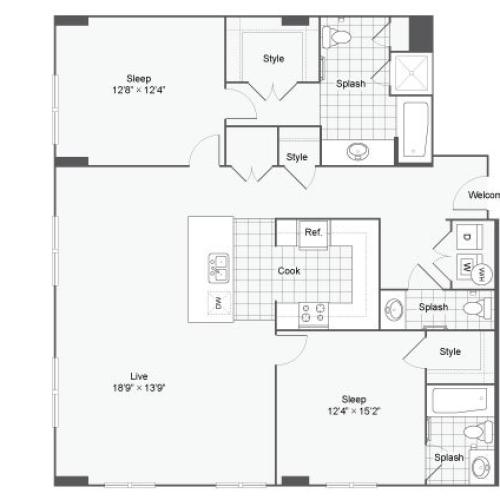 Floor Plan 85| Alamo Apartments San Antonio TX | Arrive Eilan