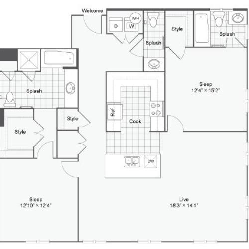 Floor Plan 89| Alamo Apartments San Antonio TX | Arrive Eilan