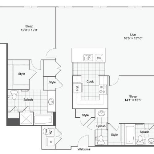 Floor Plan 91| Alamo Apartments San Antonio TX | Arrive Eilan