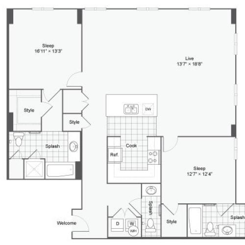 Floor Plan 93| Alamo Apartments San Antonio TX | Arrive Eilan