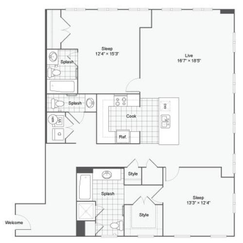 Floor Plan 94| Alamo Apartments San Antonio TX | Arrive Eilan