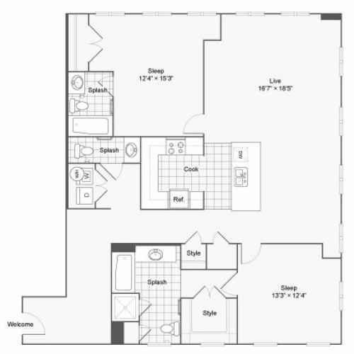 Floor Plan 94| Alamo Apartments San Antonio TX | Arrive Eilan