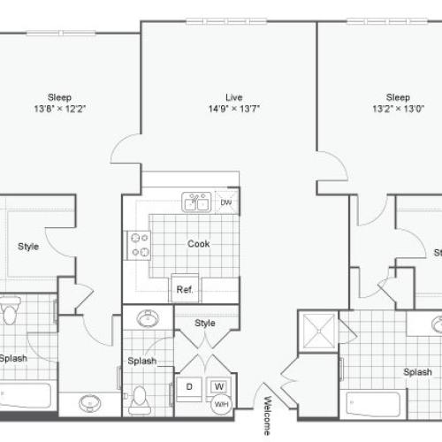 Floor Plan 95| Alamo Apartments San Antonio TX | Arrive Eilan