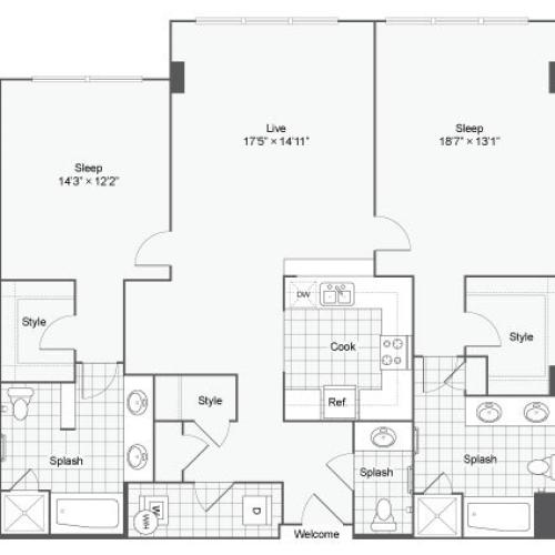 Floor Plan 99| Alamo Apartments San Antonio TX | Arrive Eilan