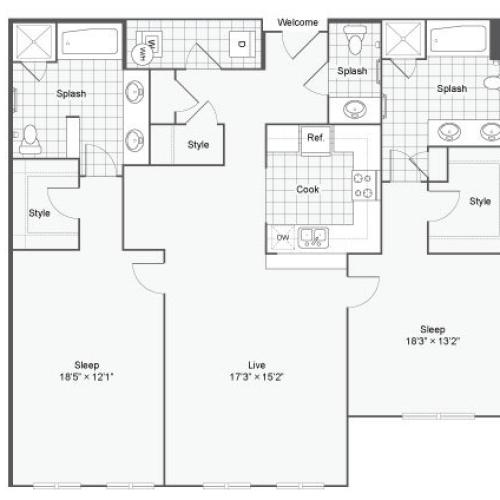 Floor Plan 100| Alamo Apartments San Antonio TX | Arrive Eilan