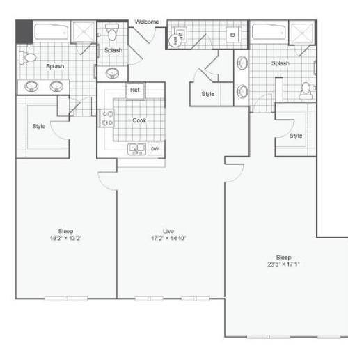 Floor Plan 102| Alamo Apartments San Antonio TX | Arrive Eilan