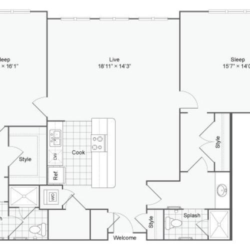 Floor Plan 103| Alamo Apartments San Antonio TX | Arrive Eilan