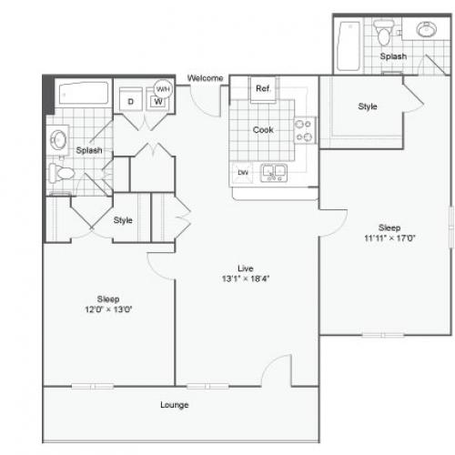 Floor Plan 104| Alamo Apartments San Antonio TX | Arrive Eilan