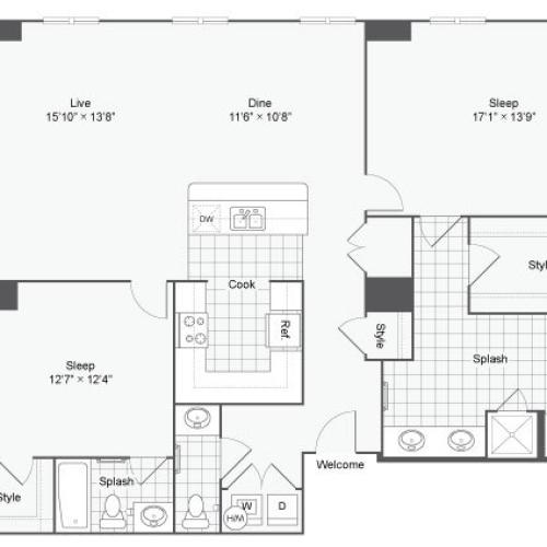 Floor Plan 106| Alamo Apartments San Antonio TX | Arrive Eilan
