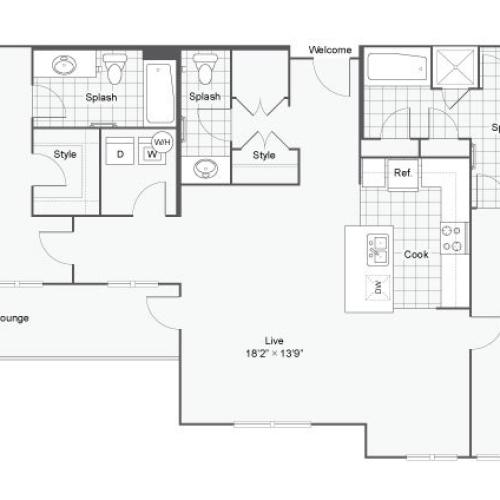 Floor Plan 107| Alamo Apartments San Antonio TX | Arrive Eilan