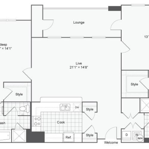 Floor Plan 108| Alamo Apartments San Antonio TX | Arrive Eilan