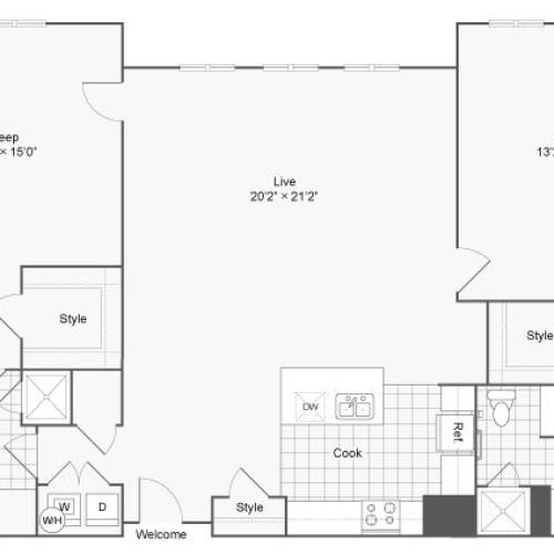 Floor Plan 109| Alamo Apartments San Antonio TX | Arrive Eilan