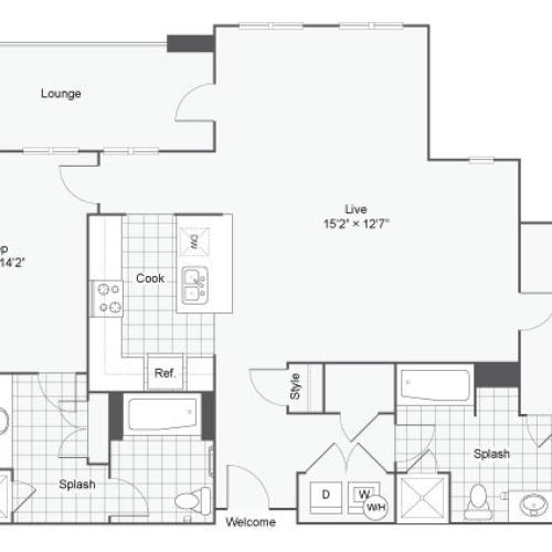 Floor Plan 110| Alamo Apartments San Antonio TX | Arrive Eilan