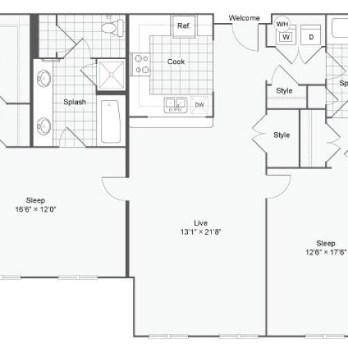 Floor Plan 111| Alamo Apartments San Antonio TX | Arrive Eilan