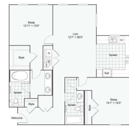 Floor Plan 112| Alamo Apartments San Antonio TX | Arrive Eilan