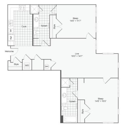 Floor Plan 113| Alamo Apartments San Antonio TX | Arrive Eilan