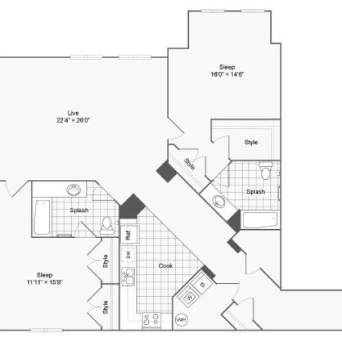 Floor Plan 114| Alamo Apartments San Antonio TX | Arrive Eilan